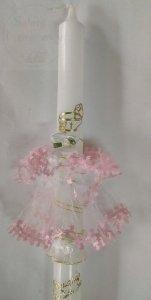 Stroik do świecy z tiulu z różowymi margaretkami