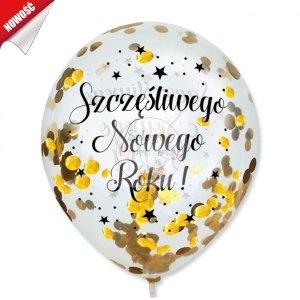 Balony przeźroczyste z konteffi złoty Szczęśliwego