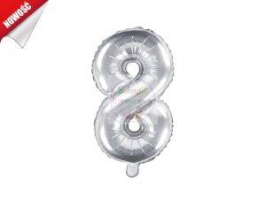 Balon foliowy Cyfra 8 - 35 cm srebrny