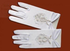 Rękawiczki komunijne lycra błyszcząca