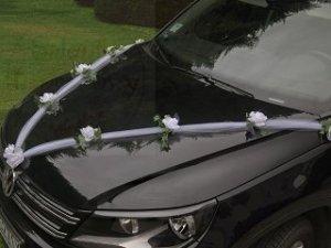 Girlanda z tiulu na samochód biała 1szt GKT4-008