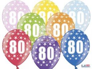 Balony metalik 30 cm - 80 urodziny mix kolor 1szt