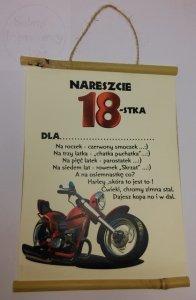 Dyplom Bambus Z okazji 18 urodzin Motocykl
