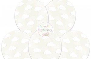 Balony przeroczyste w białe chmurki 1szt