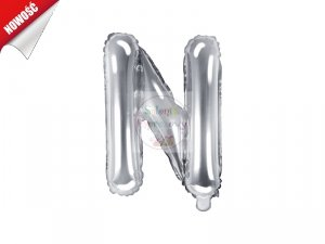 Balon foliowy Litera N 35 cm srebrny