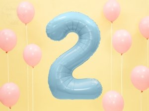 Balon foliowy cyfra 2 błękitna - 86 cm