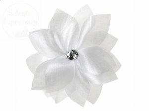 Kwiatki z dżetem do przylepienia,białe 1 szt