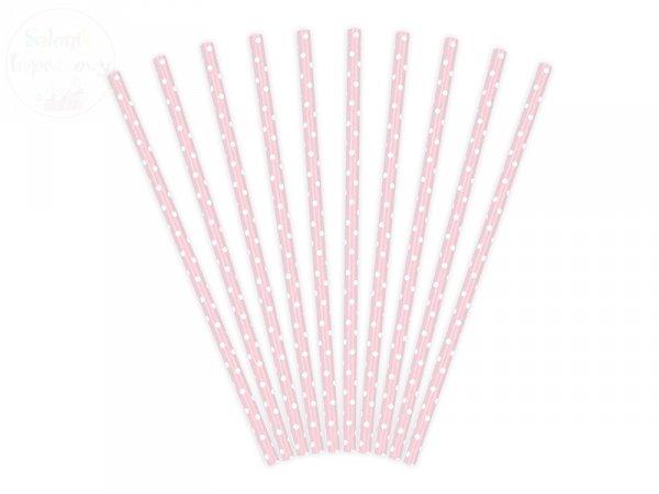 Słomki papierowe jasnoróżowe w kropeczki - 10 szt