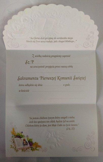 Zaproszenie Komunijne Dla Dziewczynki 1szt Produkt Dostępny 50 Szt