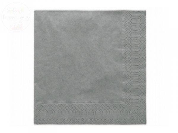Serwetka 3 warstw. 33x33cm srebrne 20 szt