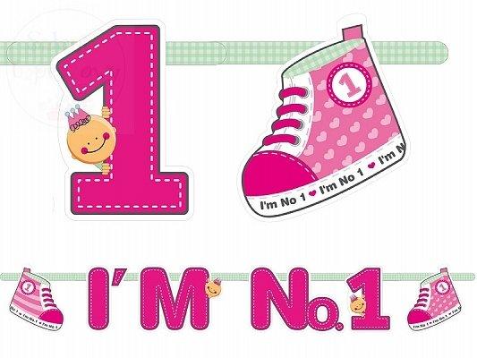 """Baner urodzinowy """"I`m No. 1"""" różowy 1 szt"""