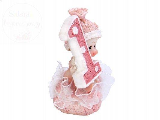 Figurka dziewczynka 1 urodziny różowa DF10D