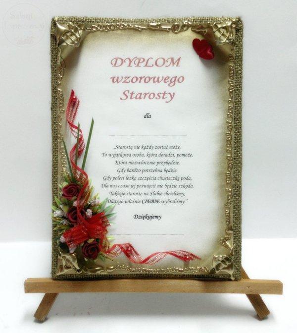 Dyplom Wzorowego Starosty z różami bordowymi 1szt