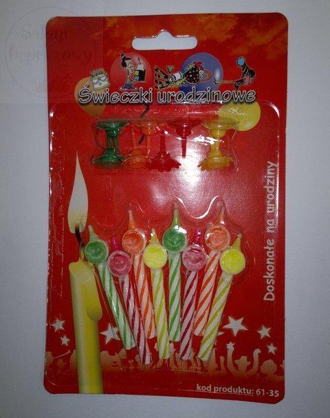 Świeczki urodzin UŚMIECHY 8 świeczek+8 podst
