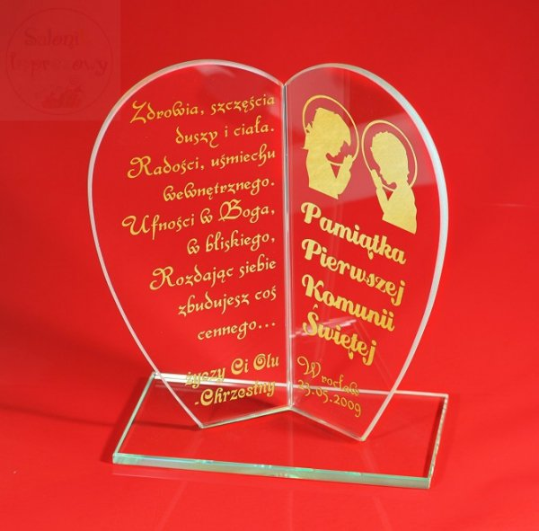 Statuetka Serce prezent na komunię, komunia, złoty grawer