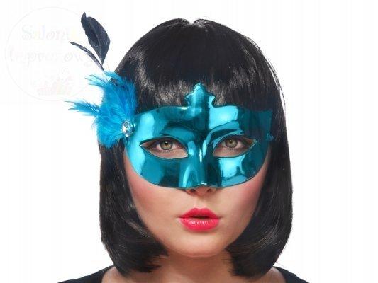 Maska na karnawał turkusowa z piórkiem