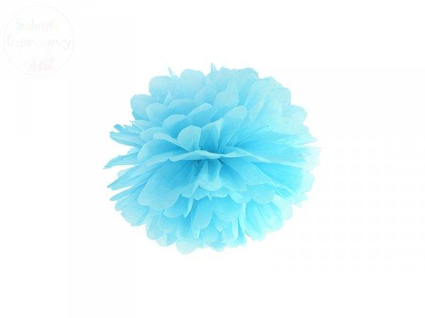 Pompon bibułowy błękitny 25cm 1szt