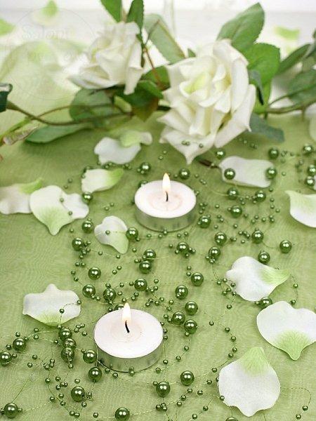 Girlanda perłowa kolor ciemny zielony 1,3m 5szt