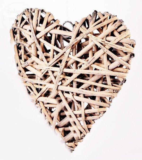 Serce wiklinowe wypełnione  brązowe 25 x 26 cm
