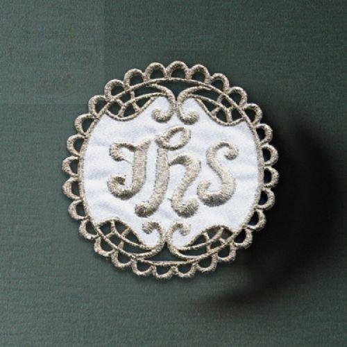 Emblemat haftowany IHS srebrny, hostia