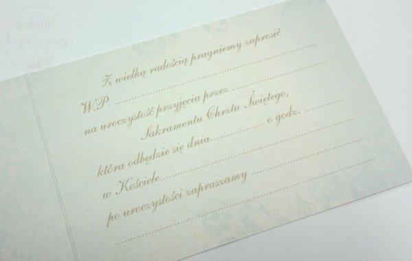Zaproszenie na chrzest św. błękitne 1szt Z.C6-392