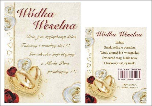 Etykiety naklejki na wódkę weselną dwustronneEAK67