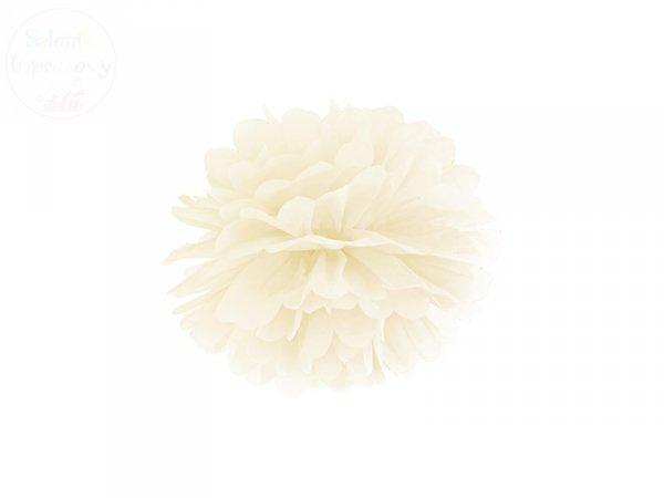 Pompon bibułowy kremowy 25cm 1szt