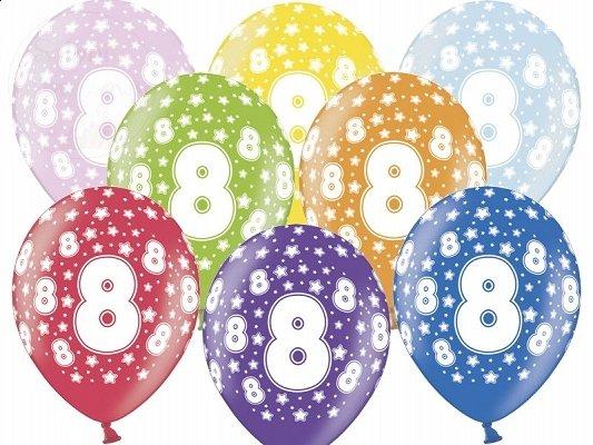 """Balony 14 cali mix kolor metalik """"8"""""""
