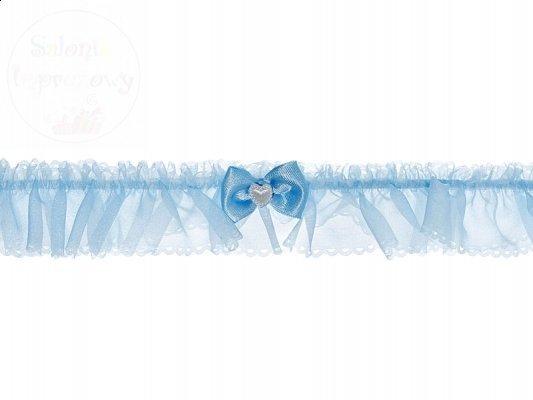 Podwiązka szyfon z kokardką i seduszkiem PDW9-011