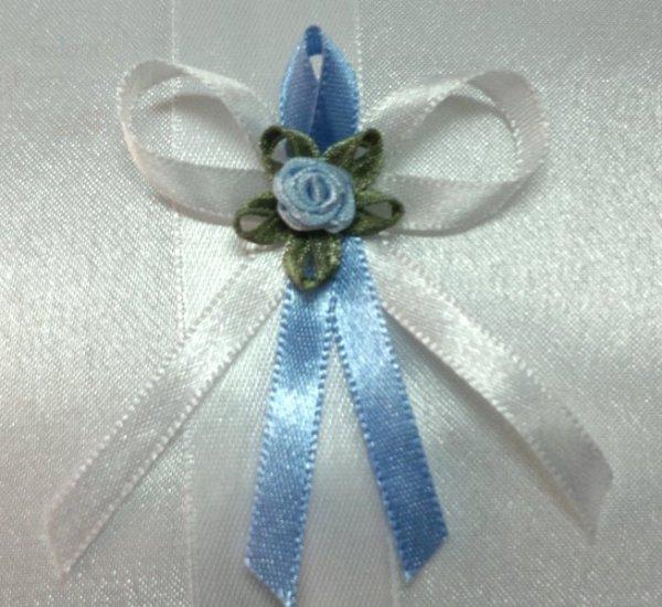 Butonierki, kotyliony biało-niebieskie 1szt