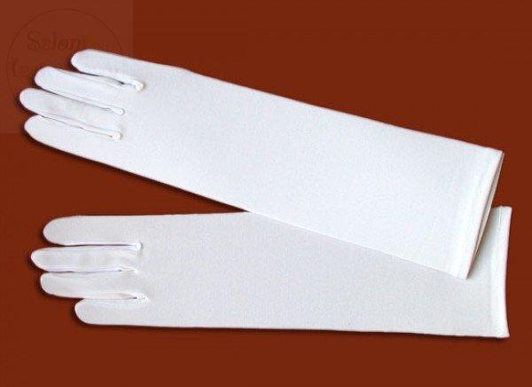 Rękawiczki komunijne białe długie lycra matowa