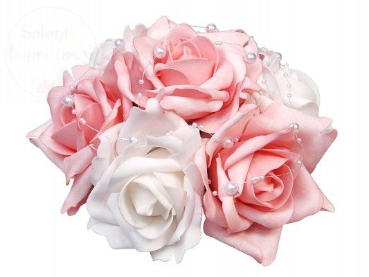 Bukiet kwiatowy z perełkami mały - biało-różowy BUKM-008R