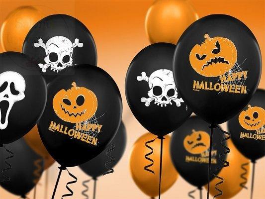 Balony 14cali pastel czarne w Dynie Halloween 1szt