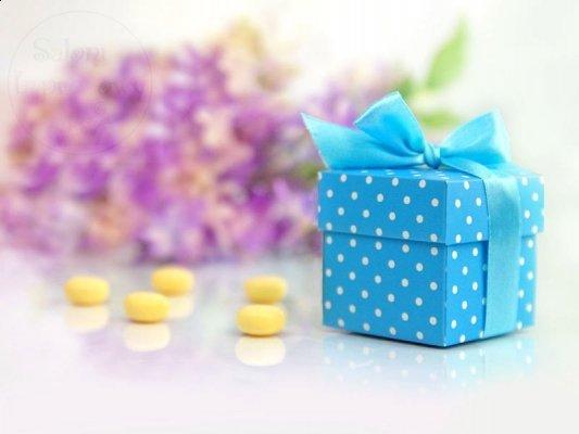 Pudełeczka dla gości błękitne z kokardką 10 szt