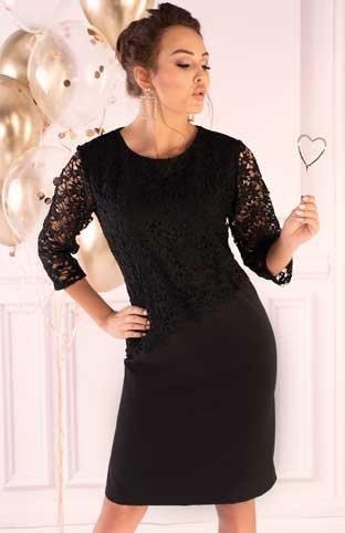 Sukienka mała czarna z koronką Hamien