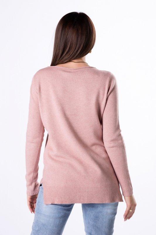 sweter z cekinową naszywką na biuście