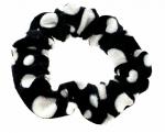 2240 Czarno-biała aksamitna gumka do włosów