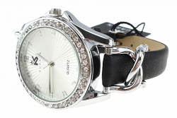 Exclusive women's silver watch with a leather strap