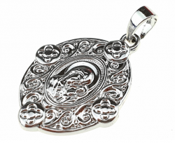 silver pendant with white gold plated