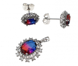 silver set with white gold plated pendant earrings