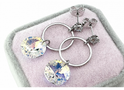 swarovski earrings with white gold plated