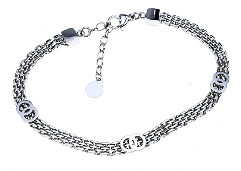 BRACELET, SILVER CELEBRITY STAINLESS STEEL