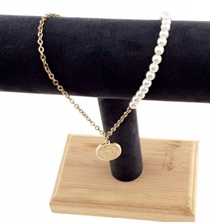 2464 Złoty łańcuszek celebrytka 41cm naszyjnik stal chirurgiczna