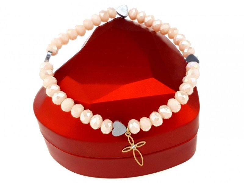 495b Bransoletka hematyt kryształki celebrytka stal chirurgiczna