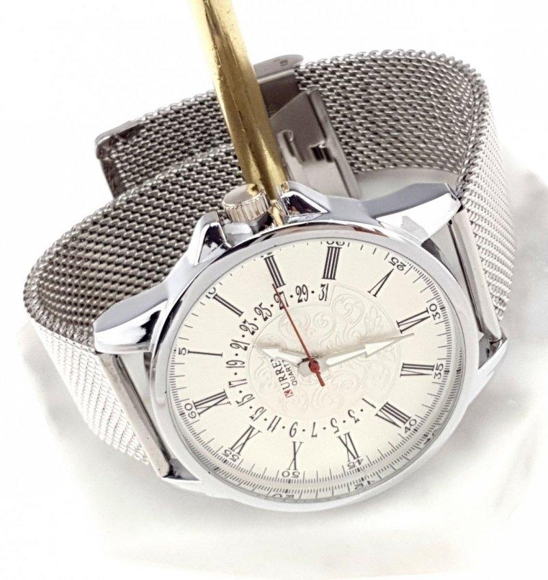 326f Zegarek męski Kurren elegancki klasyk srebrny  stal chirurgiczna