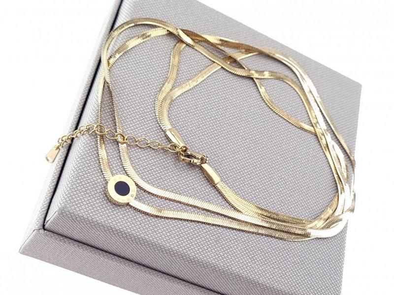 677 Złoty łańcuszek celebrytka naszyjnik stal chirurgiczna