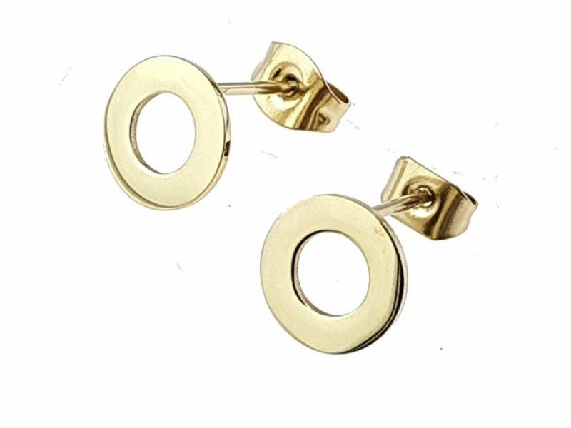 0126 Kolczyki celebrytki złote stal chirurgiczna