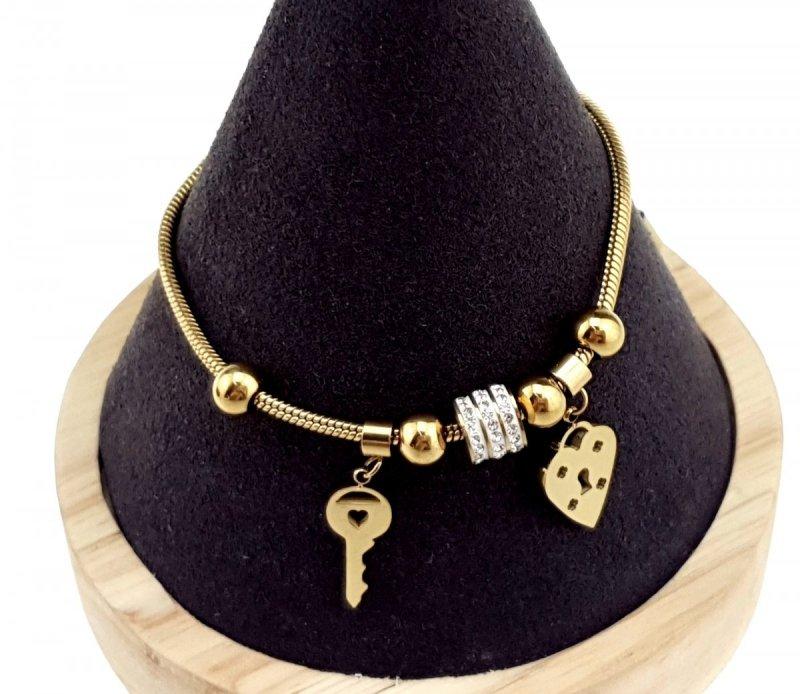 1497 Bransoletka złota celebrytka stal chirurgiczna