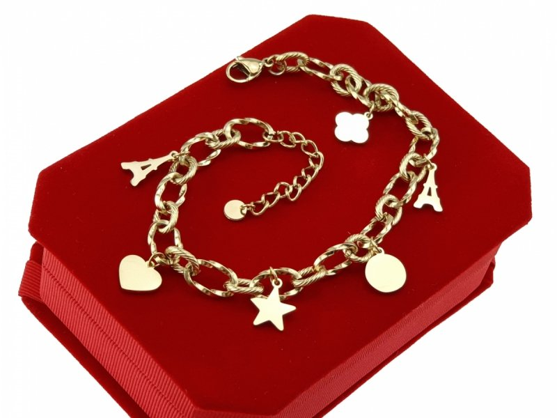 3196 Bransoletka złota celebrytka stal chirurgiczna