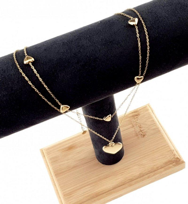 3155 Złoty łańcuszek celebrytka 45cm naszyjnik stal chirurgiczna
